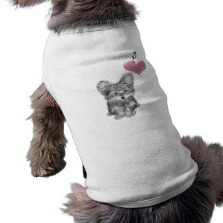 I Liebe Yorkie Hundeniedlicher Kunst-Entwurf T-Shirt