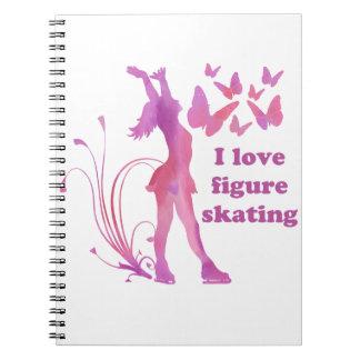 I Liebe-Zahl Skaten Spiral Notizblock