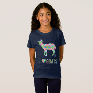 I Liebe-Ziegen-buntes Blumenmuster T-Shirt