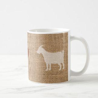 I Liebe-Ziegen-rustikale Leinwand-Tasse Kaffeetasse