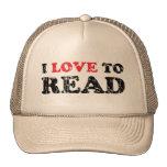 I Liebe zu lesen beunruhigt Retrokappen