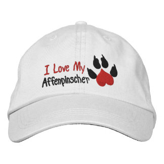 I Liebeaffenpinscher-Hundetatzen-Druck Bestickte Kappe