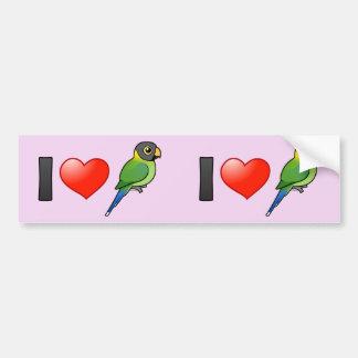 I Liebec$pflaume-köpfige Parakeets (weiblich) Autoaufkleber