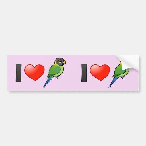 I Liebec$pflaume-köpfige Parakeets (weiblich) Auto Sticker