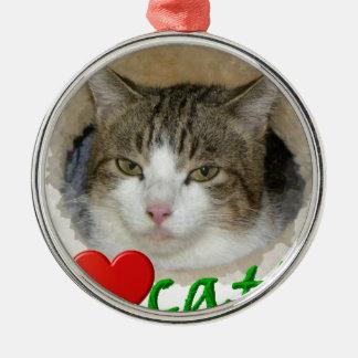 I love cat's rundes silberfarbenes ornament