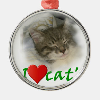 I love cats rundes silberfarbenes ornament