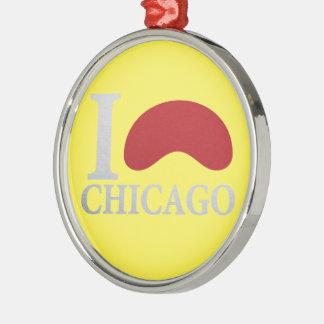 I LOVE CHICAGO RUNDES SILBERFARBENES ORNAMENT