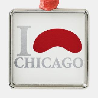 I LOVE CHICAGO SILBERNES ORNAMENT