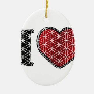 i love flower of life ovales keramik ornament