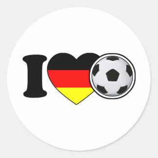 """""""I Love Fussball"""" - Mit beliebtem Deutschlandherz Runder Aufkleber"""