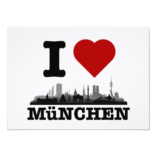 I love München Stadt Skyline - Klappkarte Karte