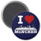 I love München Stadt Skyline - Kühlschrankmagnet