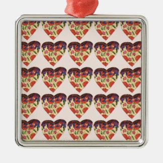 i love Pizza Quadratisches Silberfarbenes Ornament