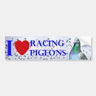 I love racing pigeons autoaufkleber