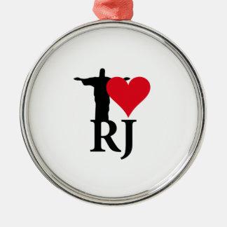 I Love Rio von Janerio Brazil Reihen Silbernes Ornament