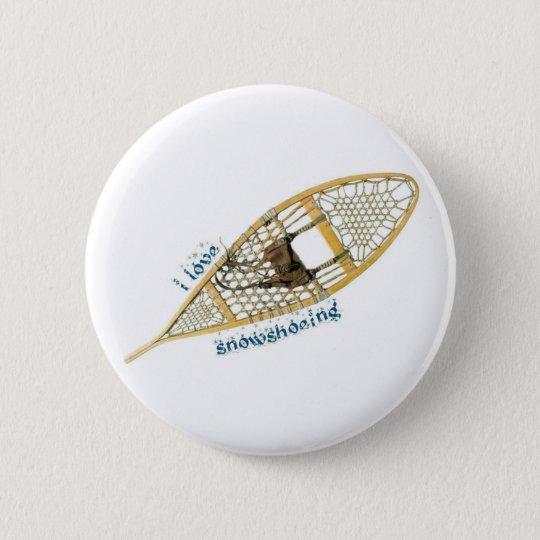 i love snowshoeing runder button 5,7 cm