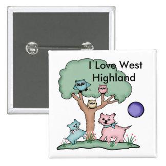 I Love West Highland Quadratischer Button 5,1 Cm