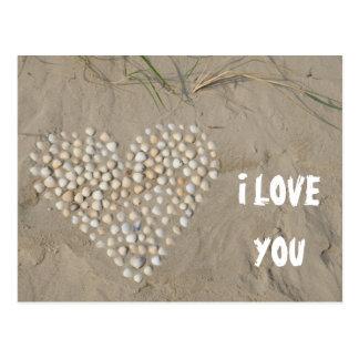 I LOVE YOU - Herz aus Muscheln am Strand Postkarten