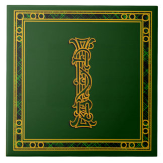 """I Monogramm """"irisches Gold auf grünen"""" Keramikfliese"""
