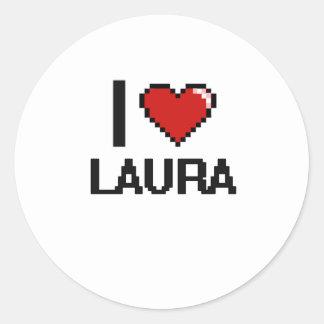 I Retro Entwurf Liebe-Laura Digital Runder Aufkleber