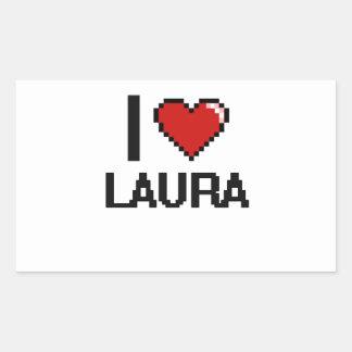 I Retro Entwurf Liebe-Laura Digital Rechteckiger Aufkleber