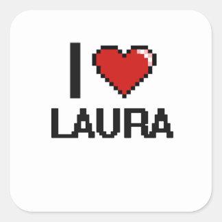 I Retro Entwurf Liebe-Laura Digital Quadratischer Aufkleber