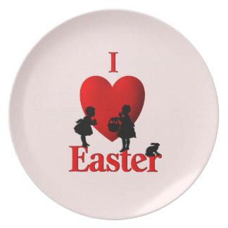I rosa Platte Herz-Ostern Melaminteller