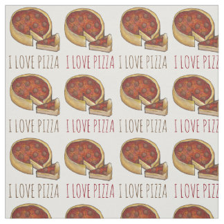 I Teller-Pepperoni-Gewebe Liebe-Pizza-Chicagos Stoff