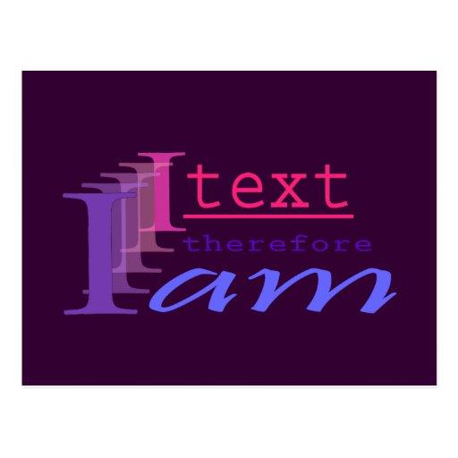 I Text, deshalb bin ich Postkarten