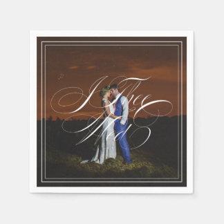 I Thee Mittwoch Foto-Hochzeit Kalligraphie-| Papierservietten