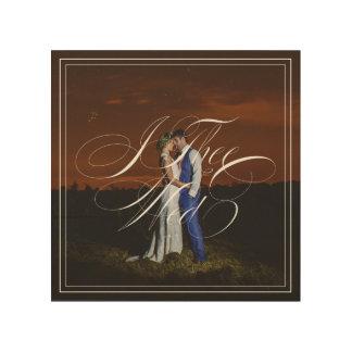 I Thee Mittwoch Hochzeits-Foto-hölzerne Holzdruck