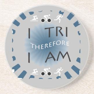 I Tri deshalb bin ich Triathlon Sandstein Untersetzer