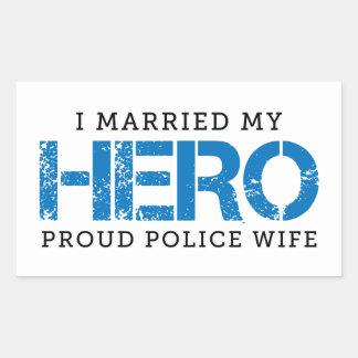 I verheiratet mein Held - Polizei-Ehefrau Rechteckiger Aufkleber