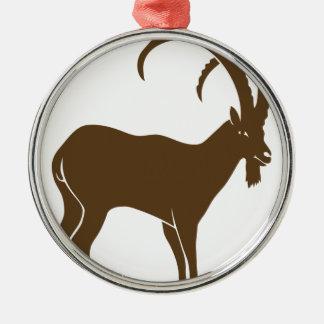 ibex capricorn steinbock mountain goat sheep climb silbernes ornament