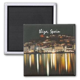 Ibiza Spanien Nachtzeit-Kühlschrankmagnet-Andenken Quadratischer Magnet