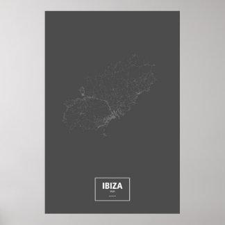 Ibiza, Spanien (weiß auf Schwarzem) Poster