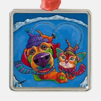 Icecapaws Feiertags-Verzierung durch Ron-Brände Silbernes Ornament