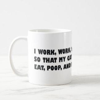 Ich bearbeite Arbeits-Arbeit, damit meine Katze Kaffeetasse