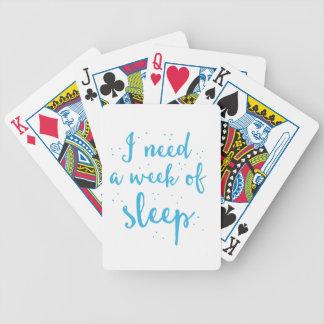 ich benötige eine Woche des Schlafes Bicycle Spielkarten