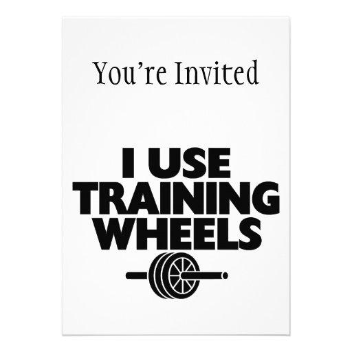 Ich benutze Trainings-Räder Individuelle Ankündigungskarte