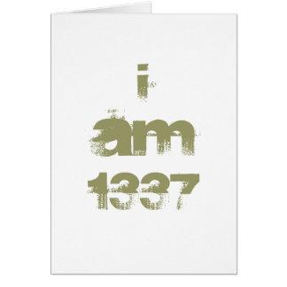 Ich bin 1337. Leet Gamer. Kakifarbiger grüner Grußkarte