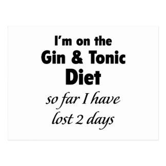 Ich bin auf dem Gin u. der tonischen Diät Postkarte
