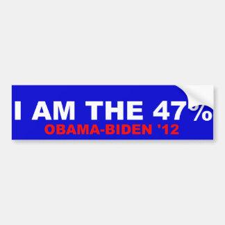 Ich bin das 47% Obama-Biden 2012 Autoaufkleber