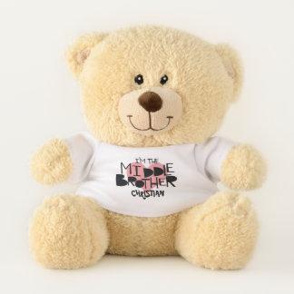 Ich bin das mittlerer Bruder-personalisierte Herz Teddybär
