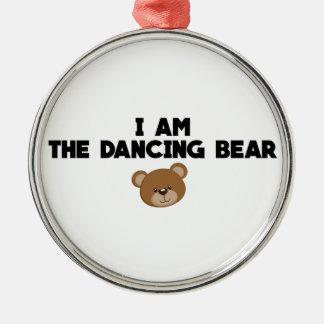 Ich bin der Tanzen-Bär Rundes Silberfarbenes Ornament