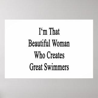 Ich bin diese schöne Frau, die großen Schwimmer Poster