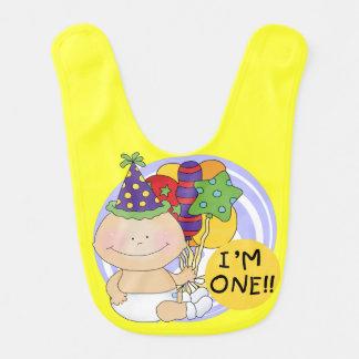 Ich bin EIN 1. Geburtstags-Schellfisch Lätzchen