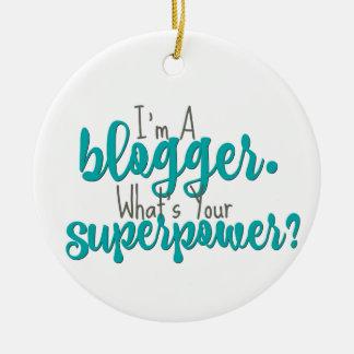 Ich bin ein Blogger. Was ist Ihre Supermacht? Rundes Keramik Ornament
