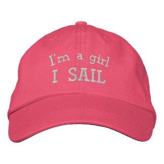 Ich bin ein gestickter rosa Hut des Mädchen-I