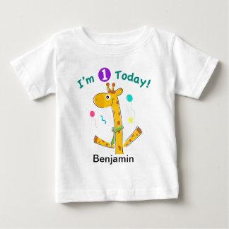 Ich bin ein heute - Giraffen-Entwurf Baby T-shirt